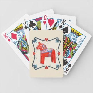 Swedish Dala Horse Folk Art Framed Bicycle Playing Cards