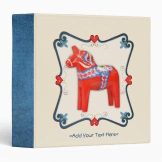 Swedish Dala Horse Folk Art Framed Binder