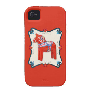 Swedish Dala Horse Folk Art Framed iPhone 4 Case