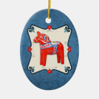 Swedish Dala Horse Folk Art Framed Ceramic Ornament