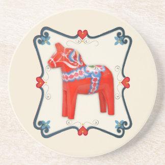 Swedish Dala Horse Folk Art Framed Coaster