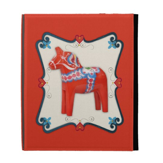 Swedish Dala Horse Folk Art Framed iPad Case