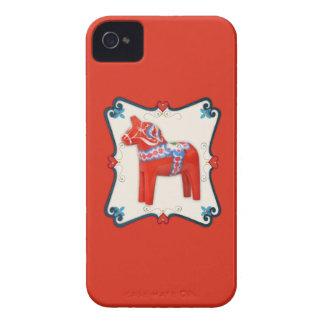 Swedish Dala Horse Folk Art Framed iPhone 4 Case-Mate Cases