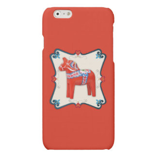 Swedish Dala Horse Folk Art Framed Matte iPhone 6 Case