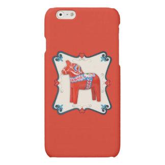 Swedish Dala Horse Folk Art Framed Matte iPhone 6 Case