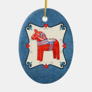 Swedish Dala Horse Folk Art Framed Christmas Tree Ornament
