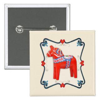 Swedish Dala Horse Folk Art Framed Pinback Button