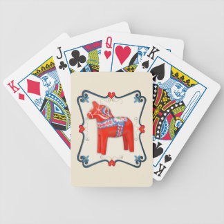 Swedish Dala Horse Folk Art Framed Bicycle Poker Deck