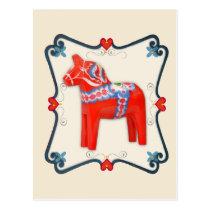 Swedish Dala Horse Folk Art Framed Postcard