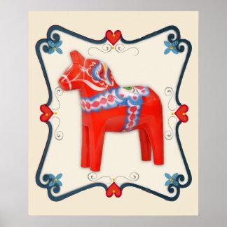 Swedish Dala Horse Folk Art Framed Poster