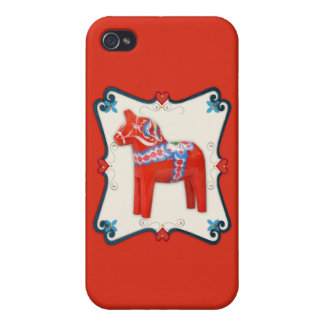 Swedish Dala Horse Folk Art Framed Scandinavian iPhone 4 Cases