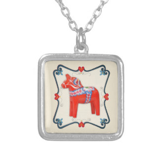 Swedish Dala Horse Folk Art Framed Silver Plated Necklace