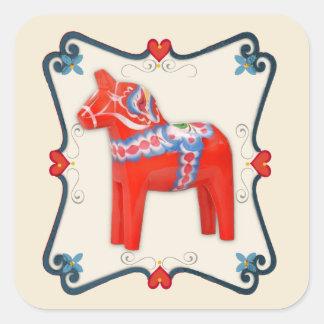 Swedish Dala Horse Folk Art Framed Square Sticker
