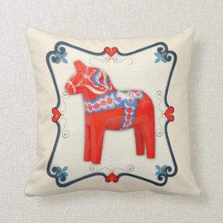 Swedish Dala Horse Folk Art Framed Throw Pillow