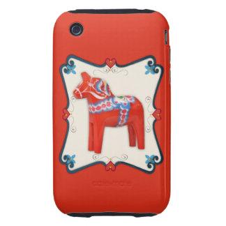 Swedish Dala Horse Folk Art Framed Tough iPhone 3 Covers