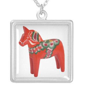 Swedish Dala Horse Folk Art from Scandinavia Square Pendant Necklace
