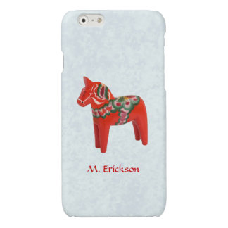 Swedish Dala Horse Folk Art Personalized Glossy iPhone 6 Case