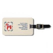 Swedish Dala Horse Folk Art Personalized Luggage Tag
