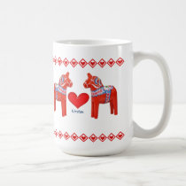Swedish Dala Horse Hearts Custom Name Coffee Mug