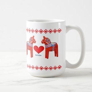 Swedish Dala Horse Hearts Custom Name Coffee Mug