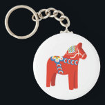 "Swedish Dala Horse Keychain<br><div class=""desc"">Show off your love of horses with this neat Swedish Dala design. This will look great on t-shirts,  banners,  throw pillows,  tote bags and more.</div>"