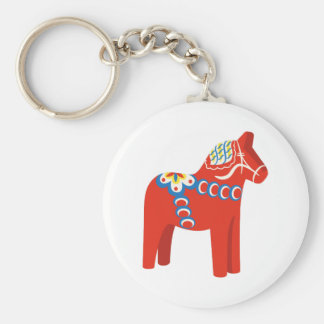 Swedish Dala Horse Keychain
