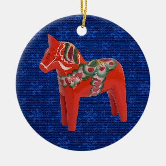 Swedish Dala Horse on Field of Blue Stars Ceramic Ornament