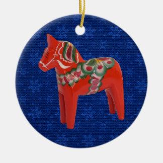 Swedish Dala Horse on Field of Blue Stars Ornaments