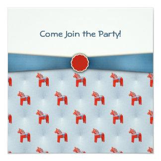 Swedish Dala Horse Party Blue Ribbon 5.25x5.25 Square Paper Invitation Card
