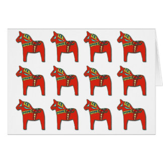 Swedish Dala Horse Pattern with Personalized Text Card