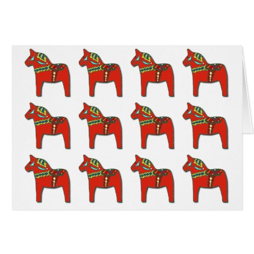 Swedish Dala Horse Pattern with Personalized Text Greeting Card