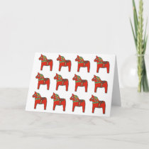Swedish Dala Horse Pattern with Personalized Text Holiday Card