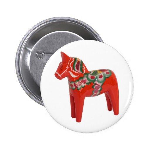 Swedish Dala Horse Pinback Buttons