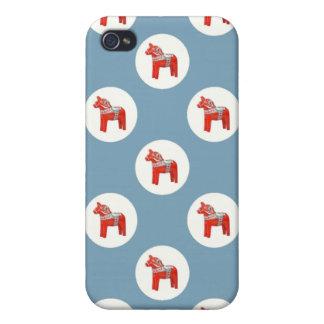 Swedish Dala Horse Polkadots on Blue iPhone 4/4S Cover