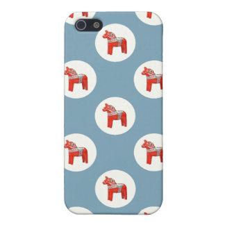 Swedish Dala Horse Polkadots on Blue iPhone 5 Covers