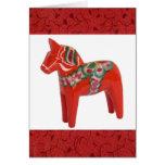 Swedish Dala Horse Scandinavian Custom Greeting Card