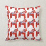 Swedish Dala Horse Scandinavian Design Throw Pillow