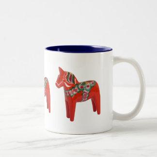 Swedish Dala Horse Scandinavian Two-Tone Coffee Mug