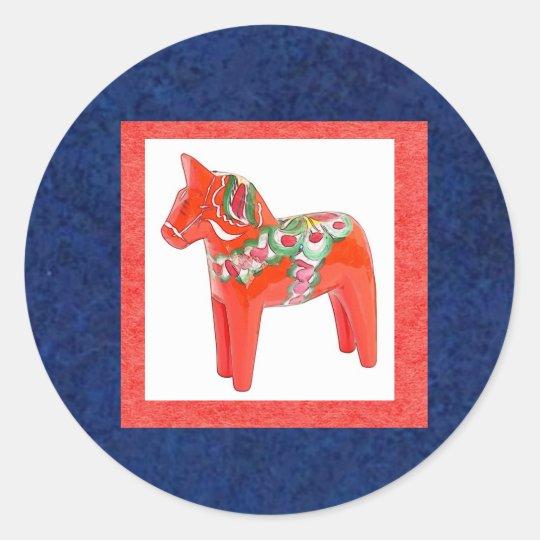 Swedish Dala Horse Scandinavian Traditional Classic Round Sticker