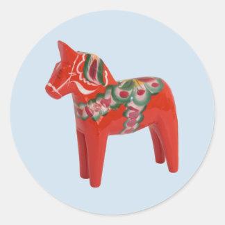 Swedish Dala Horse Round Sticker