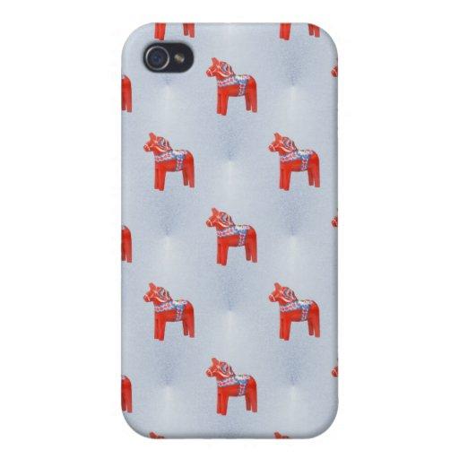 Swedish Dala Horse Tile Pattern Blue iPhone 4 Cases