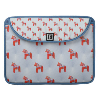 Swedish Dala Horse Tile Pattern Blue Sleeve For MacBook Pro