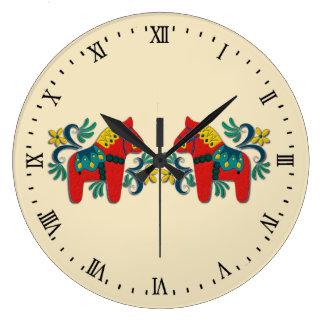 Swedish Dala Horse Twins Scandinavian Large Clock