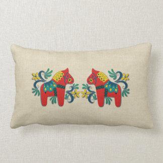 Swedish Dala Horse Twins Throw Pillows