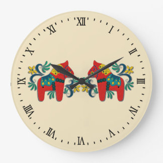 Swedish Dala Horse Twins Wall Clock