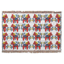 Swedish Dala Horse Twins with Rosemaling Throw Blanket