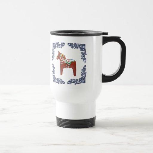 Swedish Dala Horse with Blue Delft Scroll Frame 15 Oz Stainless Steel Travel Mug