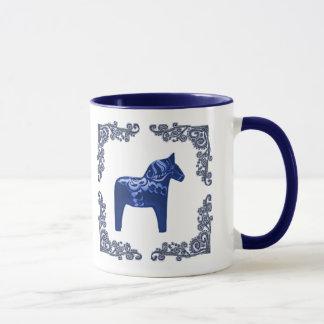 Swedish Dala Horse with Blue Delft Scroll Mug