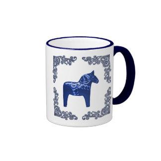 Swedish Dala Horse with Blue Delft Scroll Ringer Mug