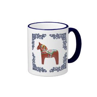 Swedish Dala Horse with Blue Delft Scrolled Frame Ringer Mug